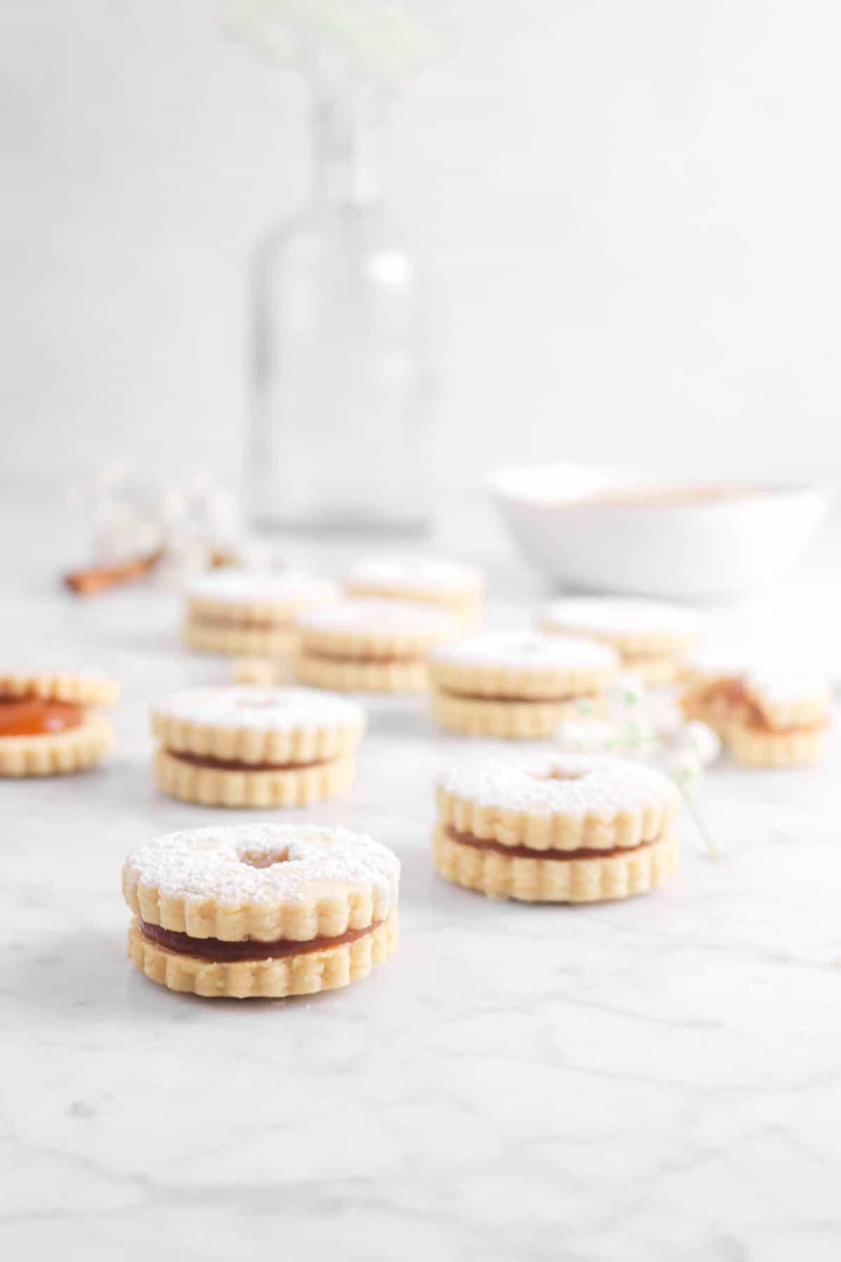 ten cookies on marble counter