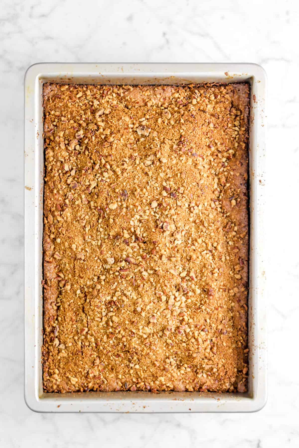 apple pie coffee cake baked in a rectangular pan