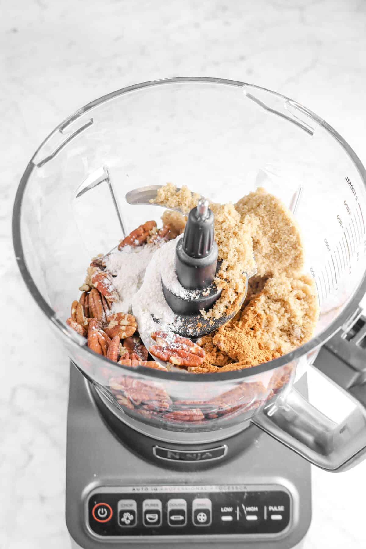 pecans, brown sugar, cinnamon, and flour in a food processor