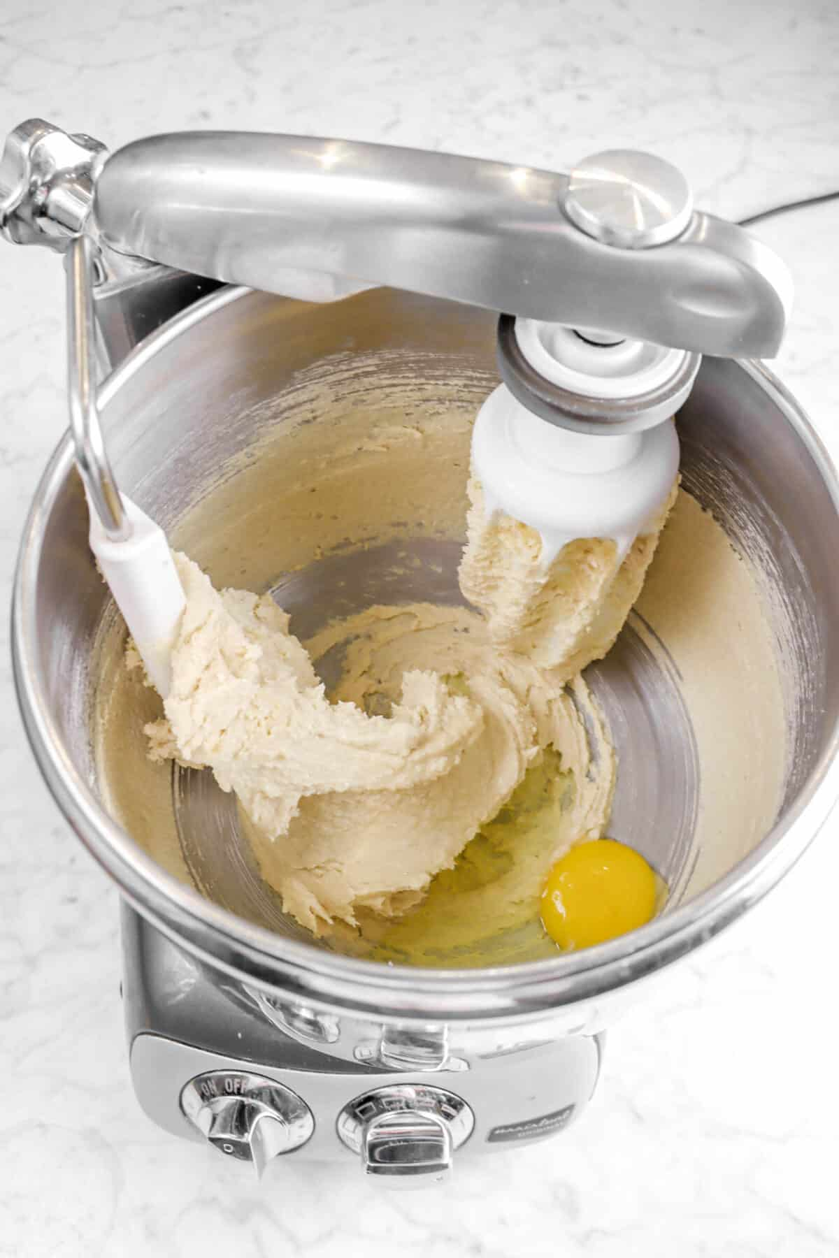 egg added to butter mixture