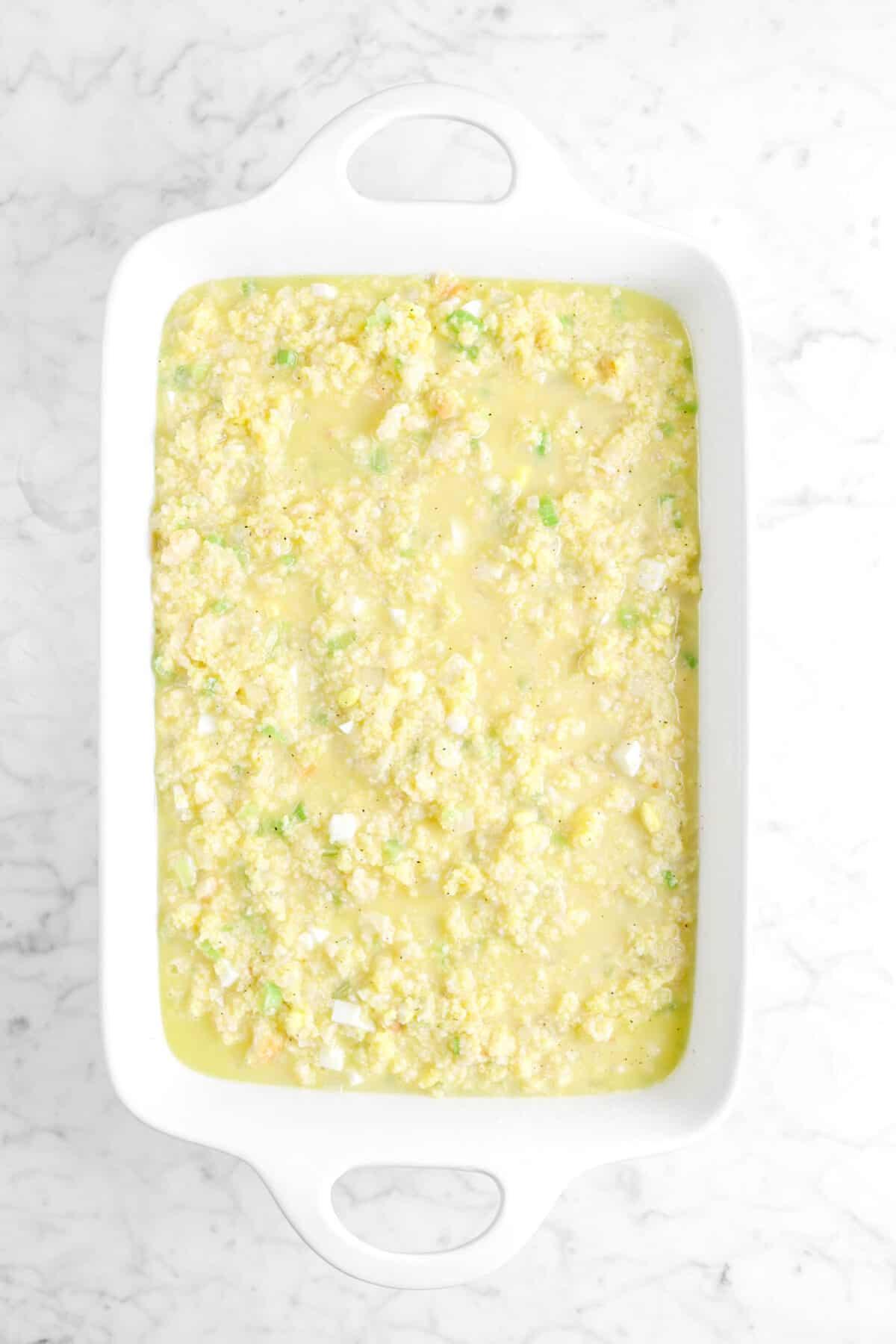 cornbread dressing added to white casserole