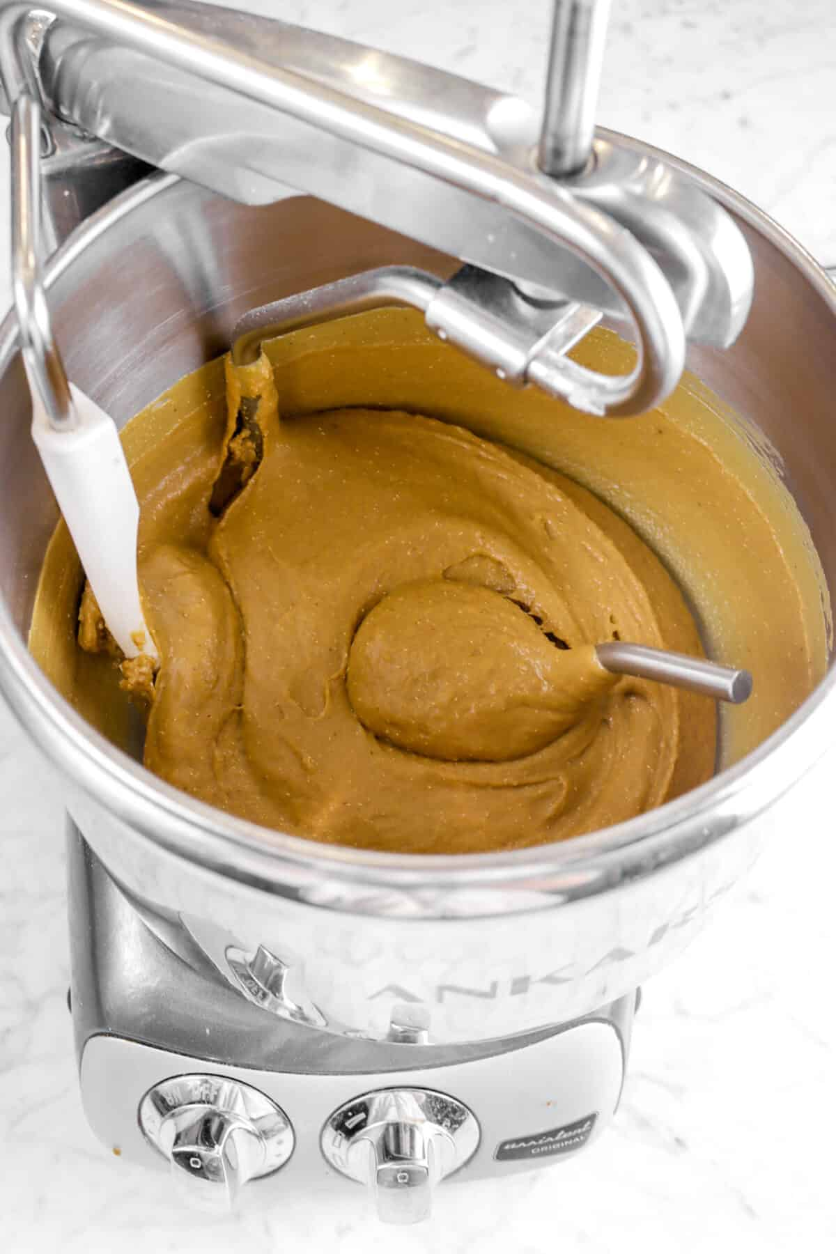 gingerbread beignet dough in a mixer