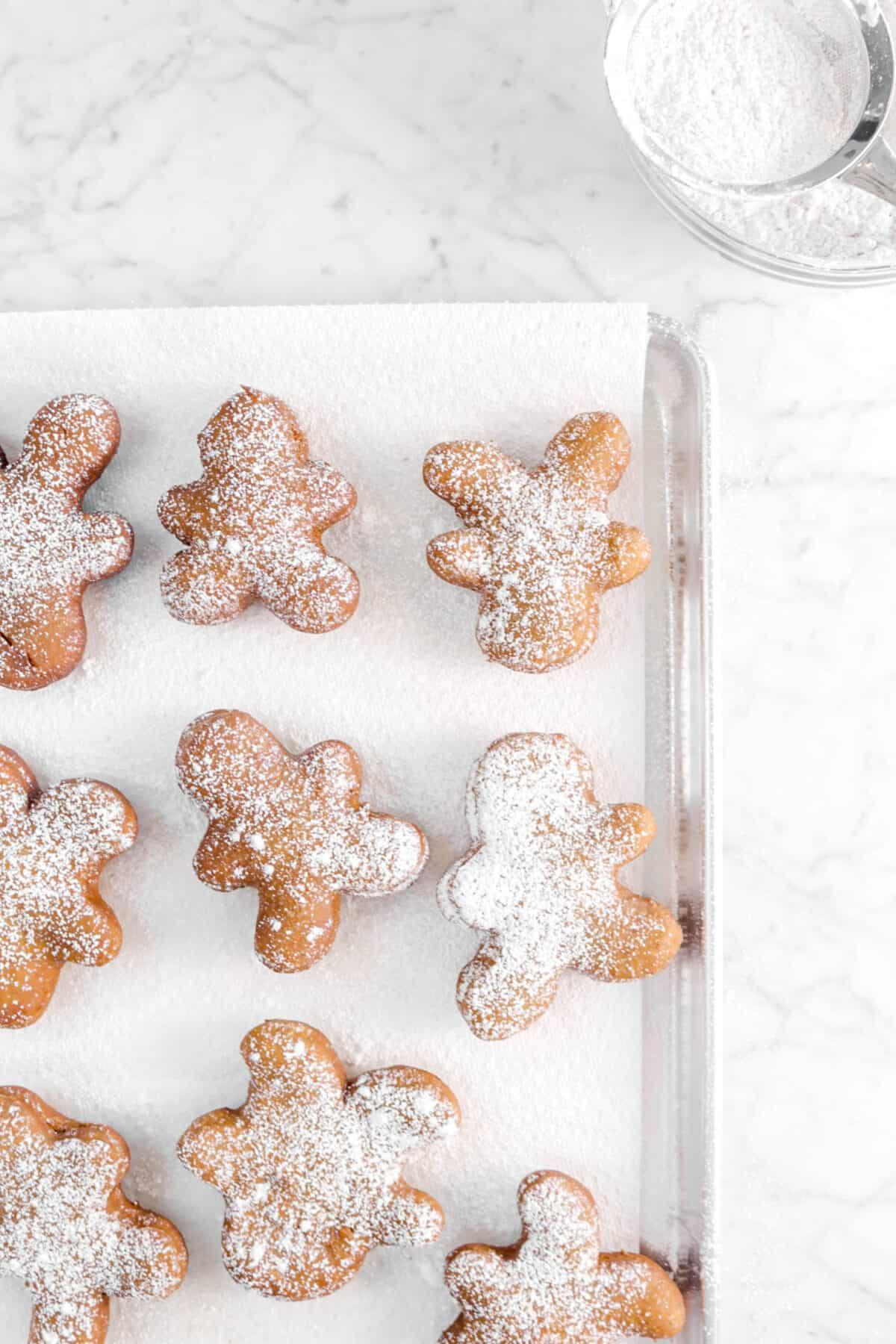 nine beignets sprinkled with powdered sugar