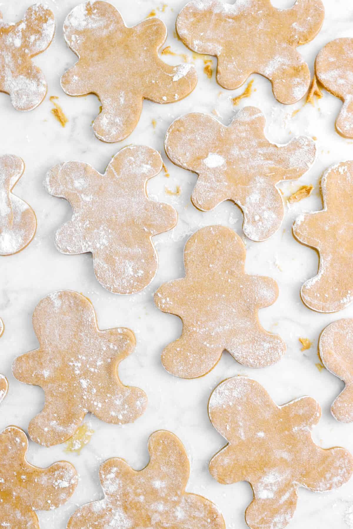gingerbread beignet dough cut on a marble counter