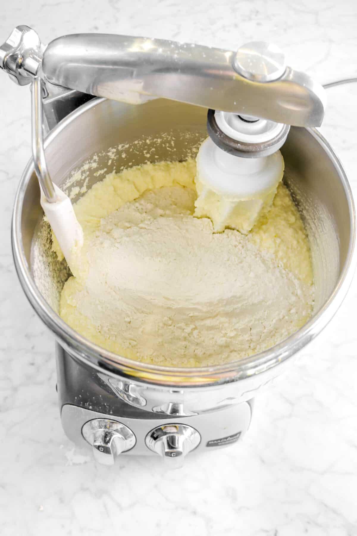 flour mixture added to butter mixture