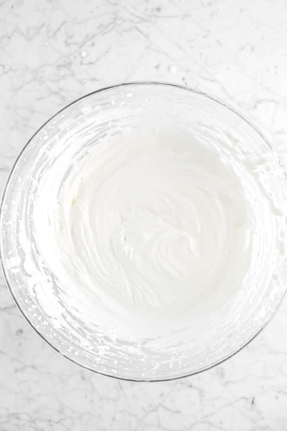 chantilly cream in glass bowl
