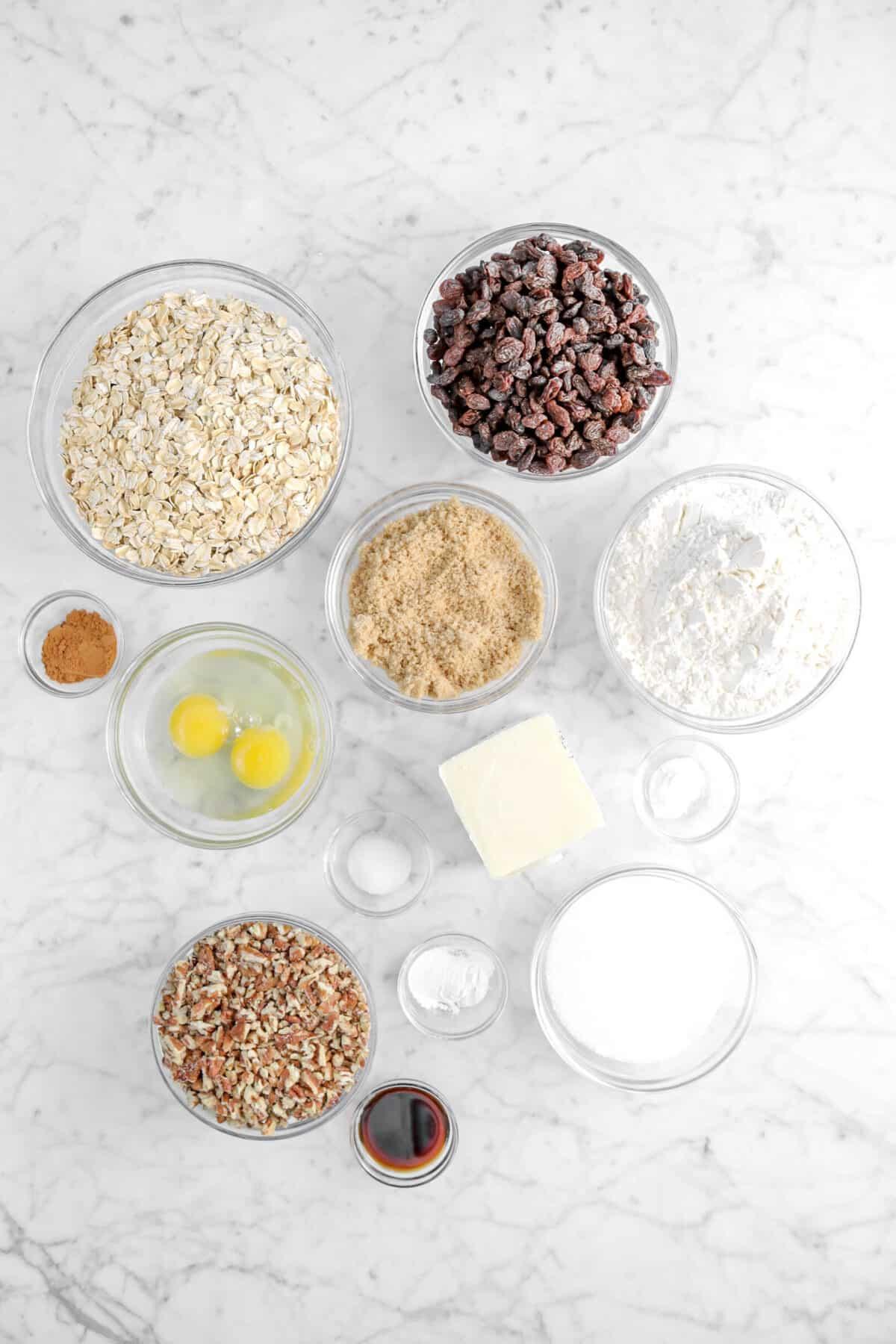 raisins, oats, flour, brown sugar, cinnamon, eggs, butter, salt, baking powder, baking soda, sugar, chopped pecans, and vanilla in glass bowls