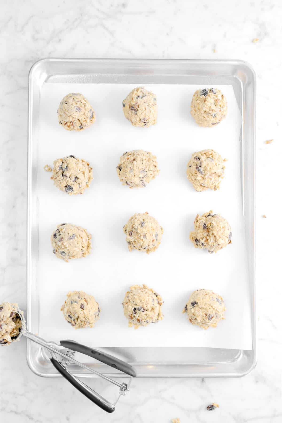twelve cookie dough balls on a lined cookie sheet with a cookie scoop