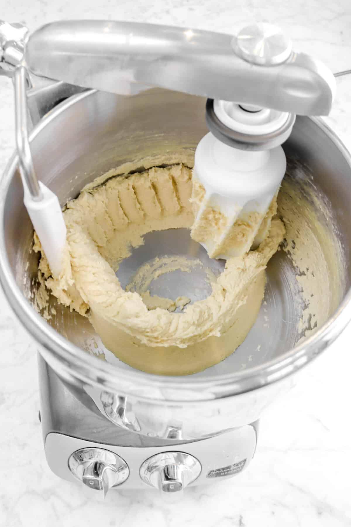 eggs beaten into butter mixture