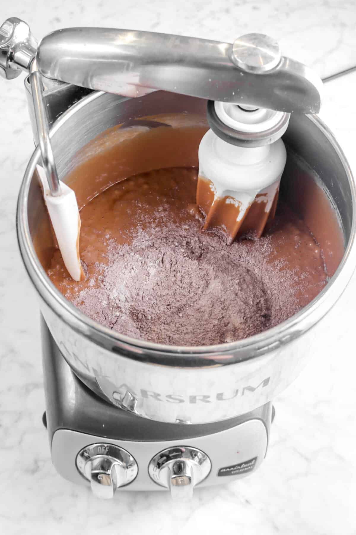flour mixture added to brownie batter