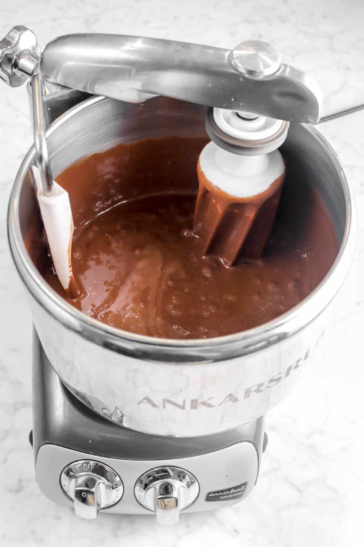 brownie batter in a mixer