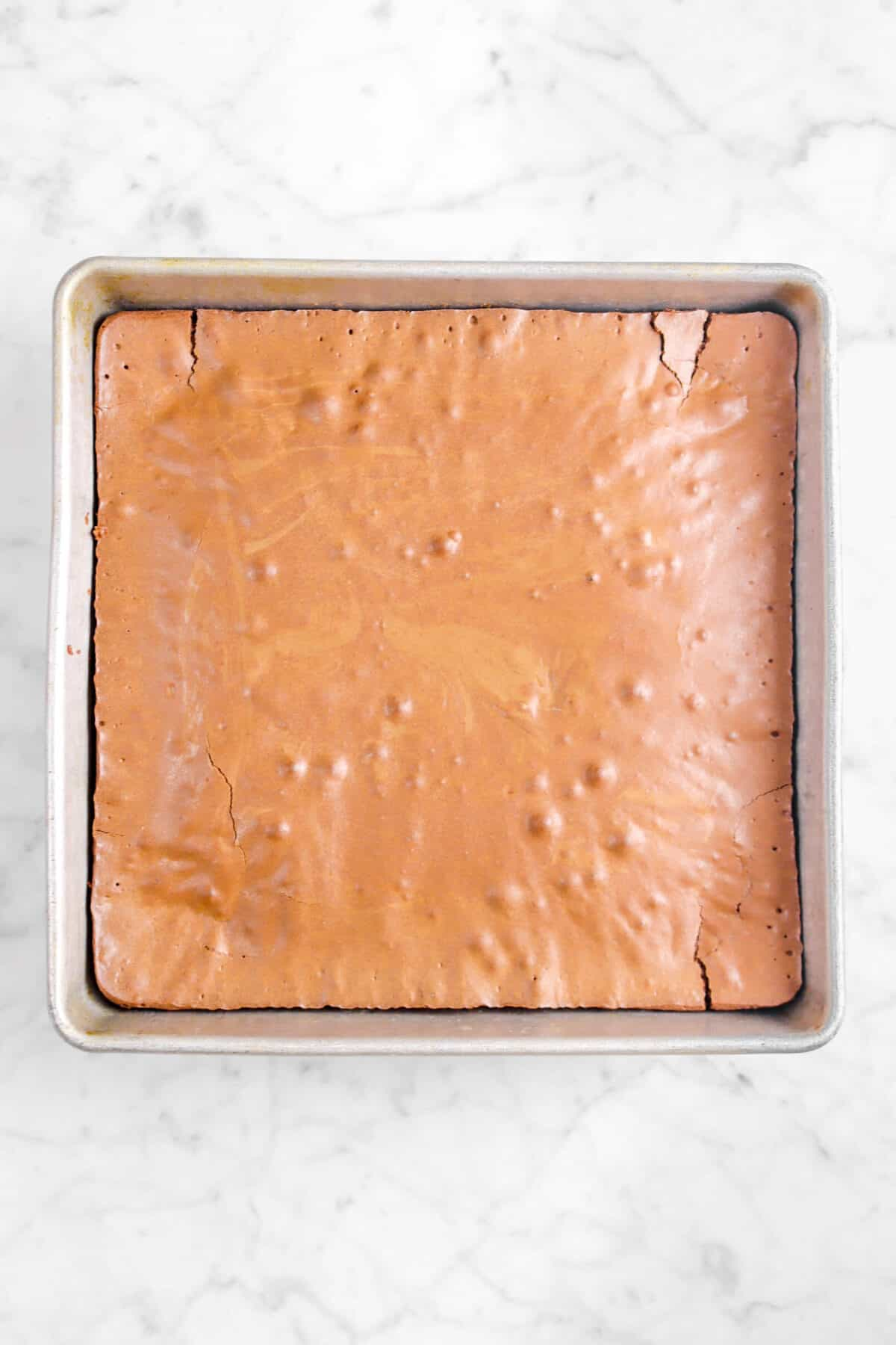 baked brownies in a square pan