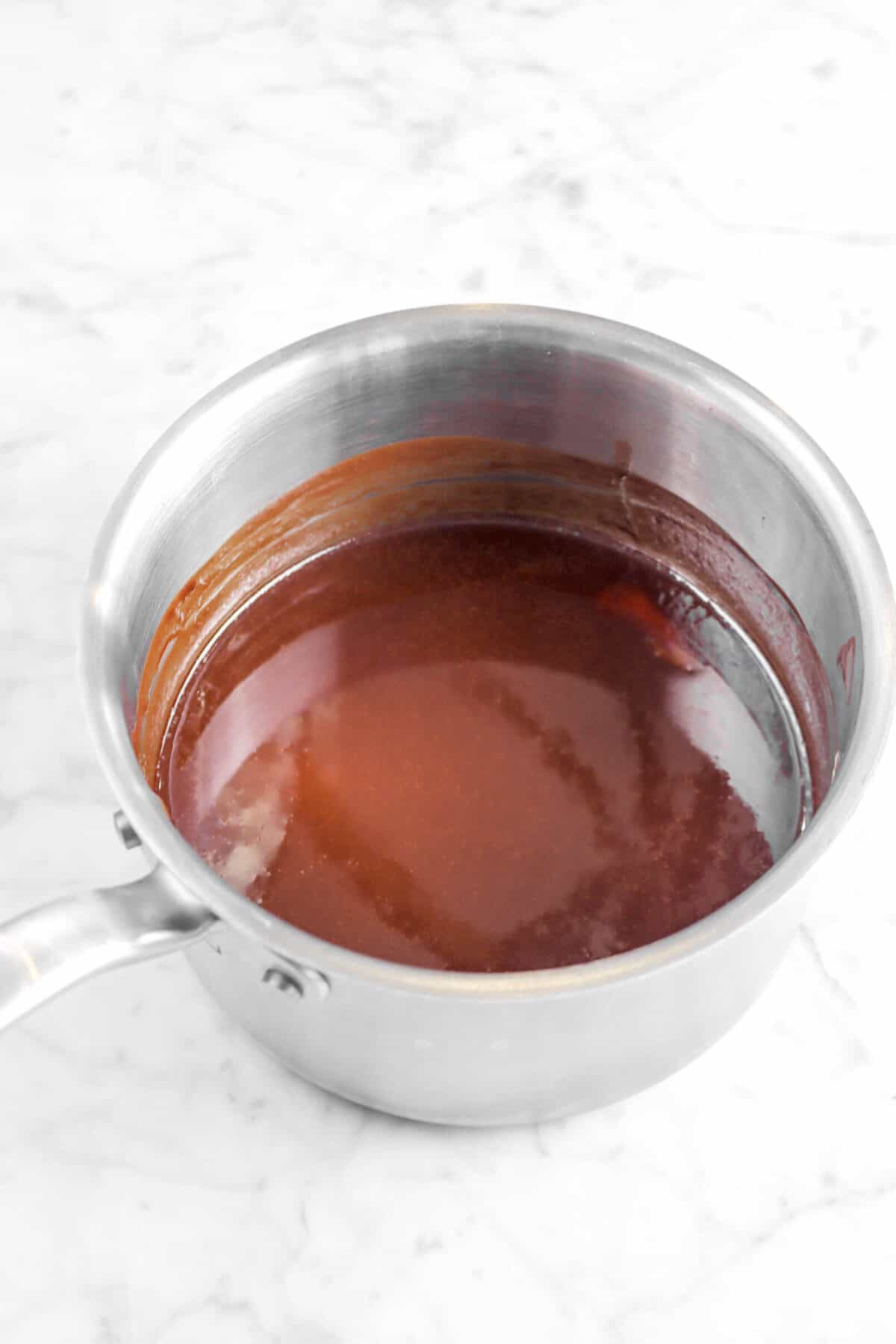 melted butter and chocolate in a small pot