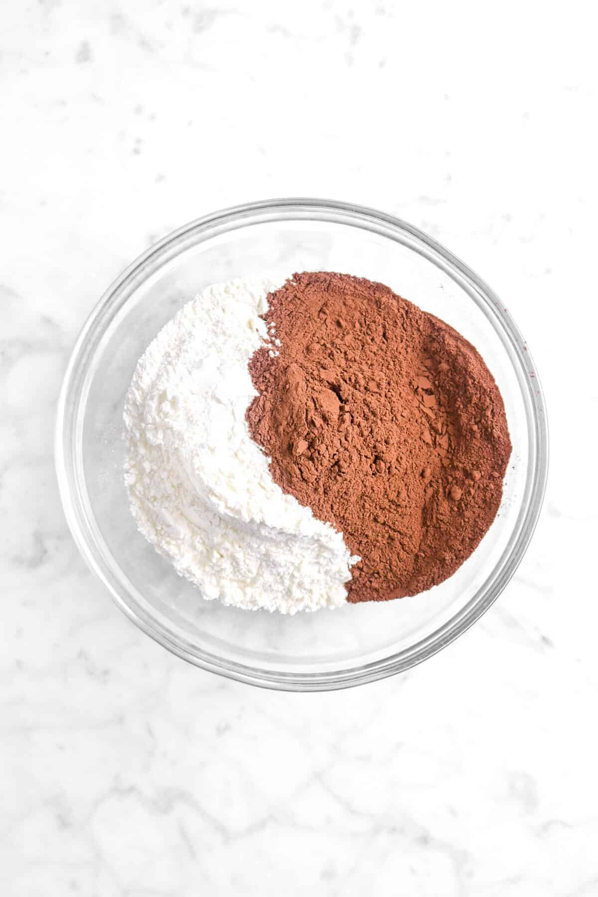 cocoa powder and flour in a bowl