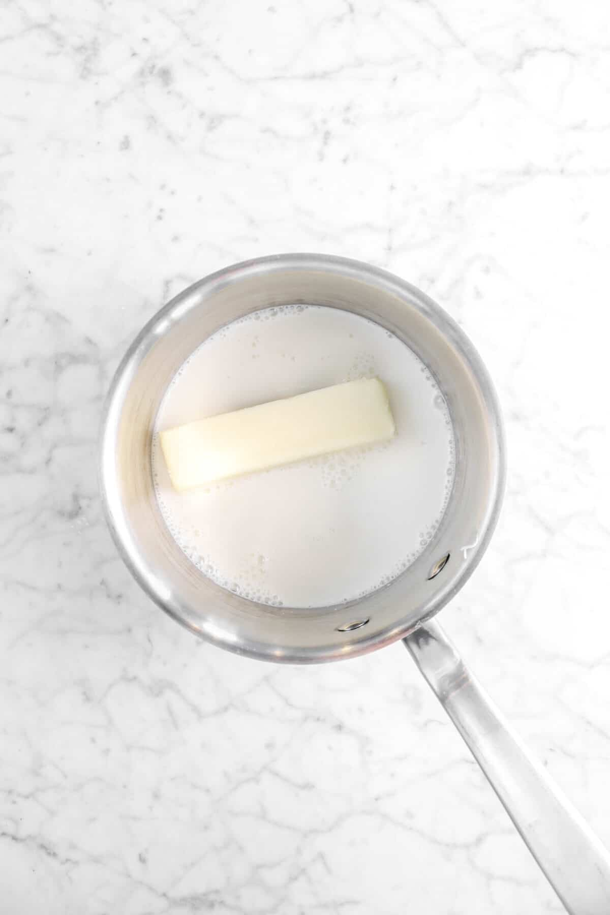 milk and butter in small pot
