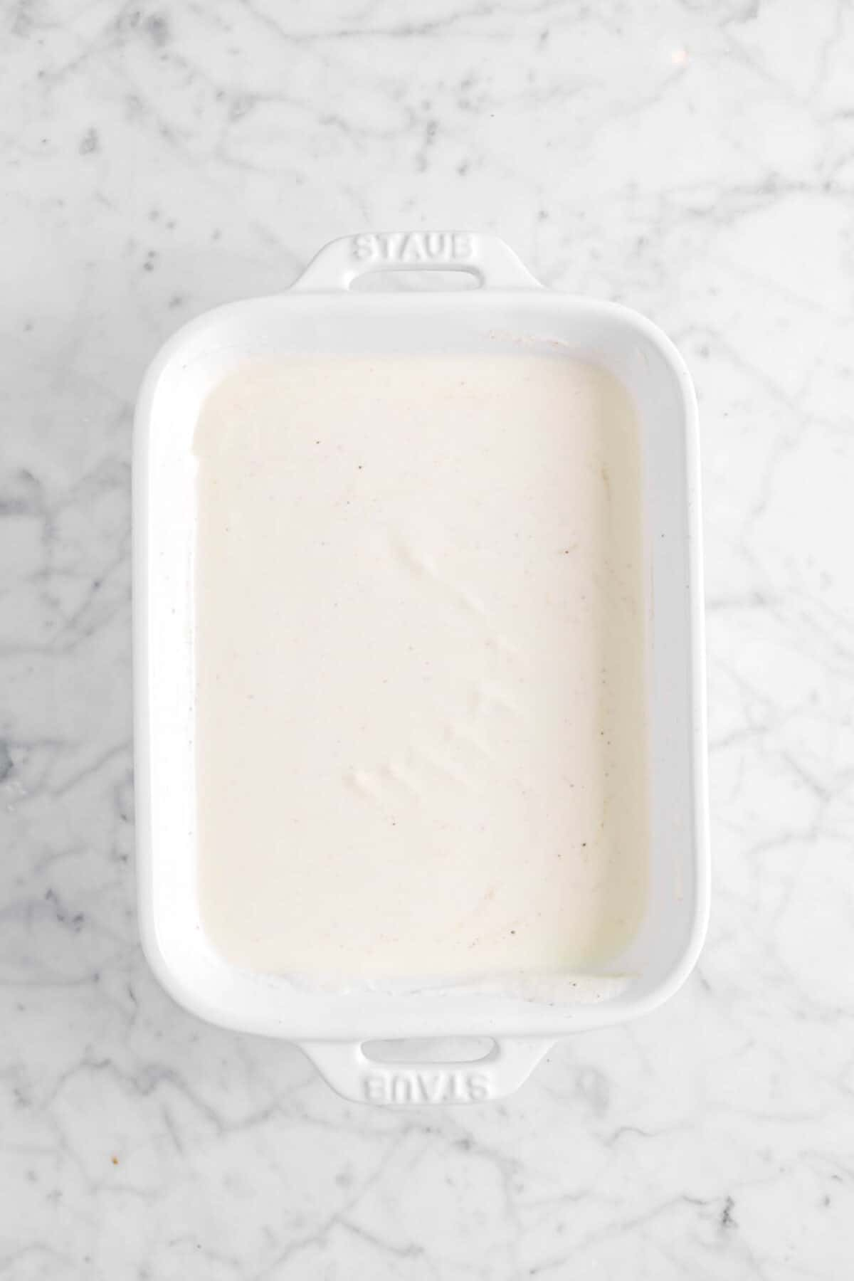 eggnog in a small casserole