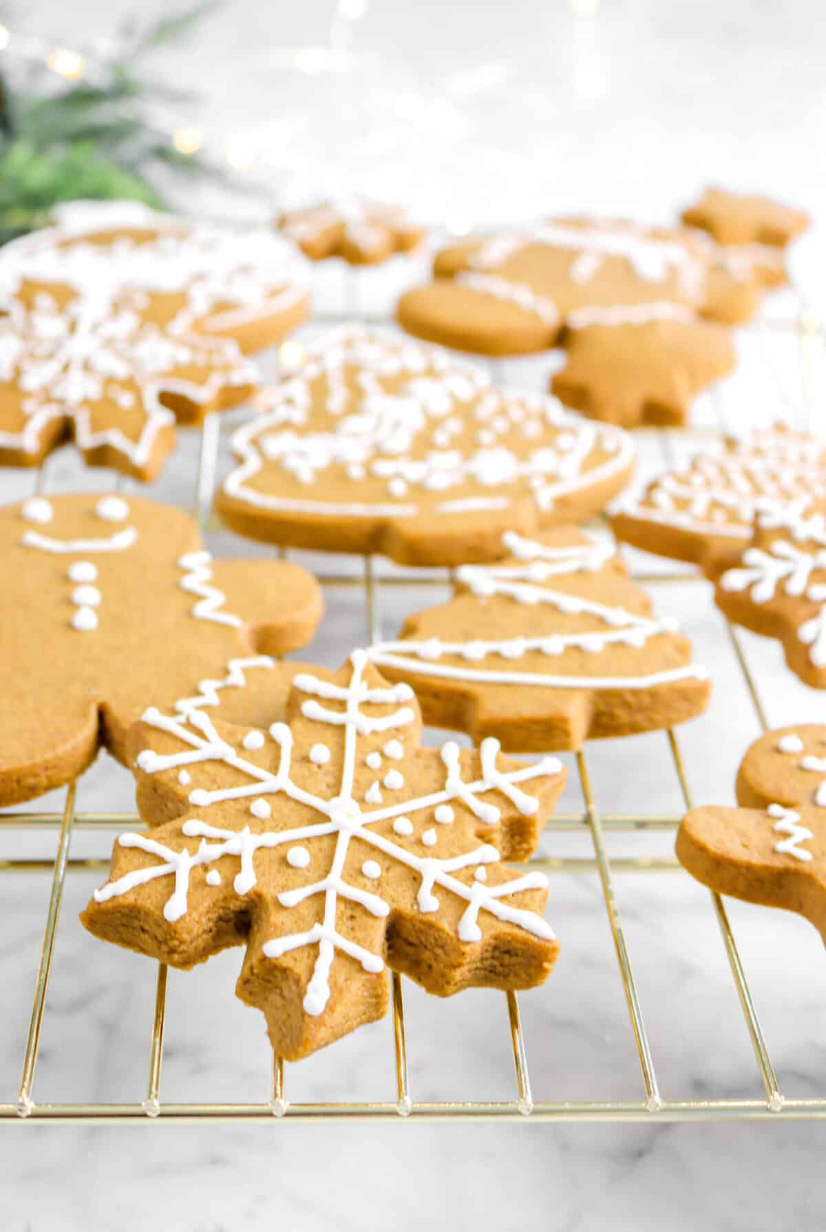 close up of snowflake cookie