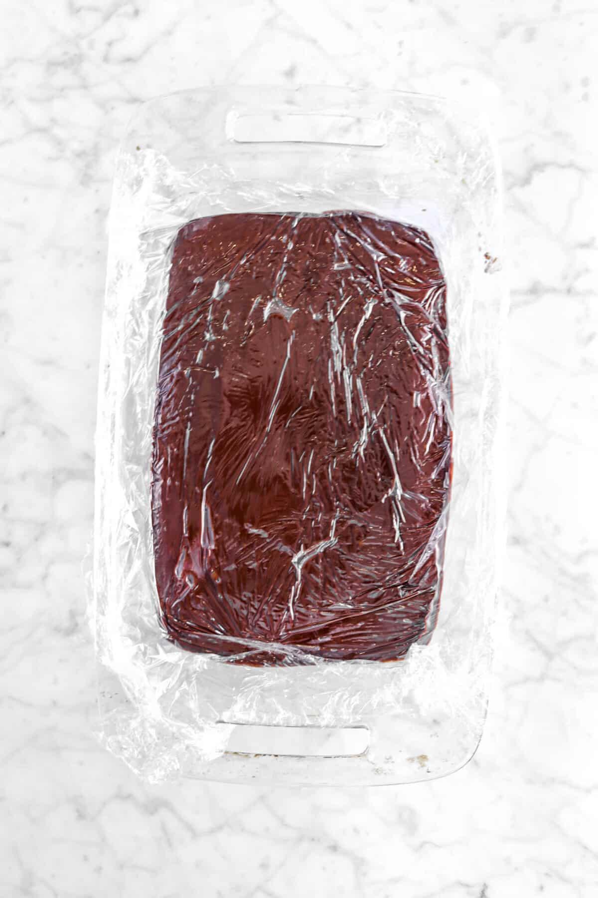 plastic wrap over ganache filling