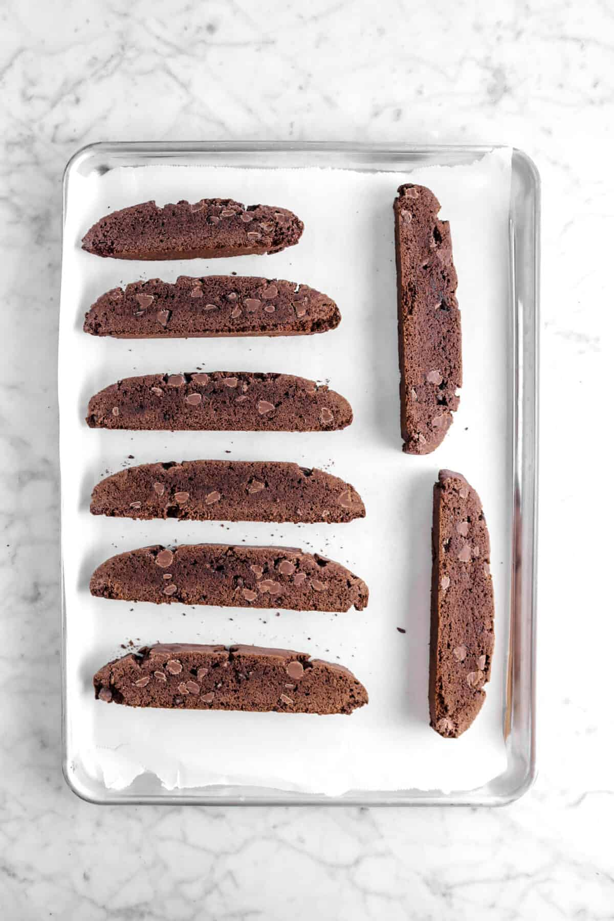 baked biscotti on pan