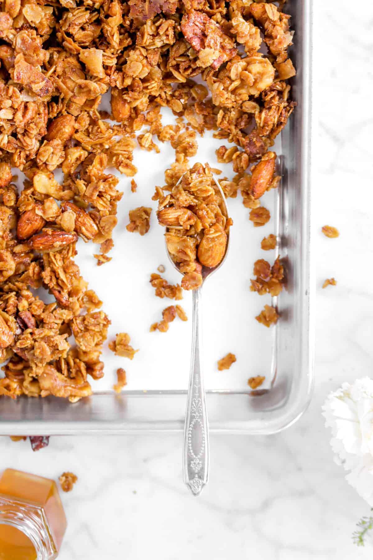 overhead shot of granola in spoon