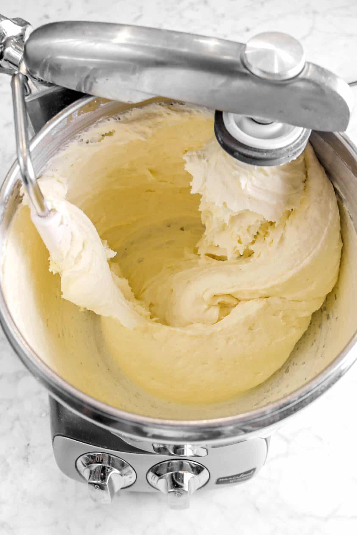 lemon pound cake batter in mixer
