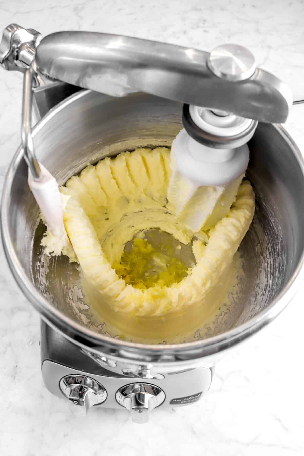 lemon juice and lemon zest in mixer