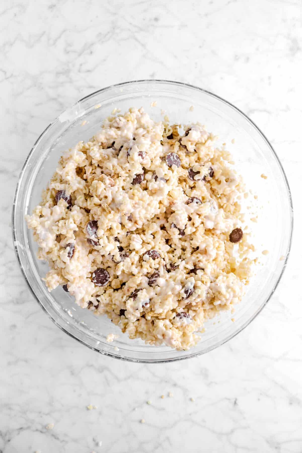 marshmallow stirred into rice krispy mixture