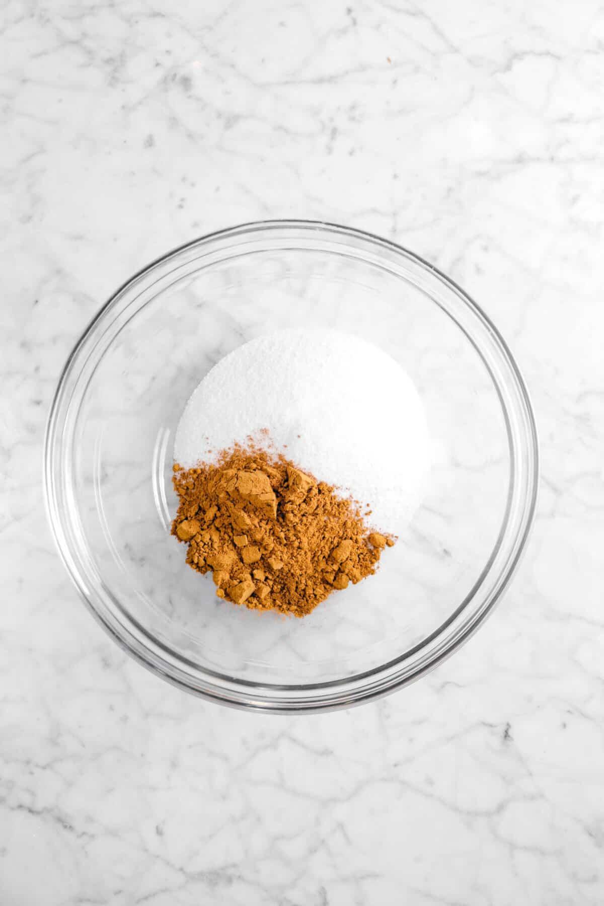 cinnamon and sugar in a glass bowl