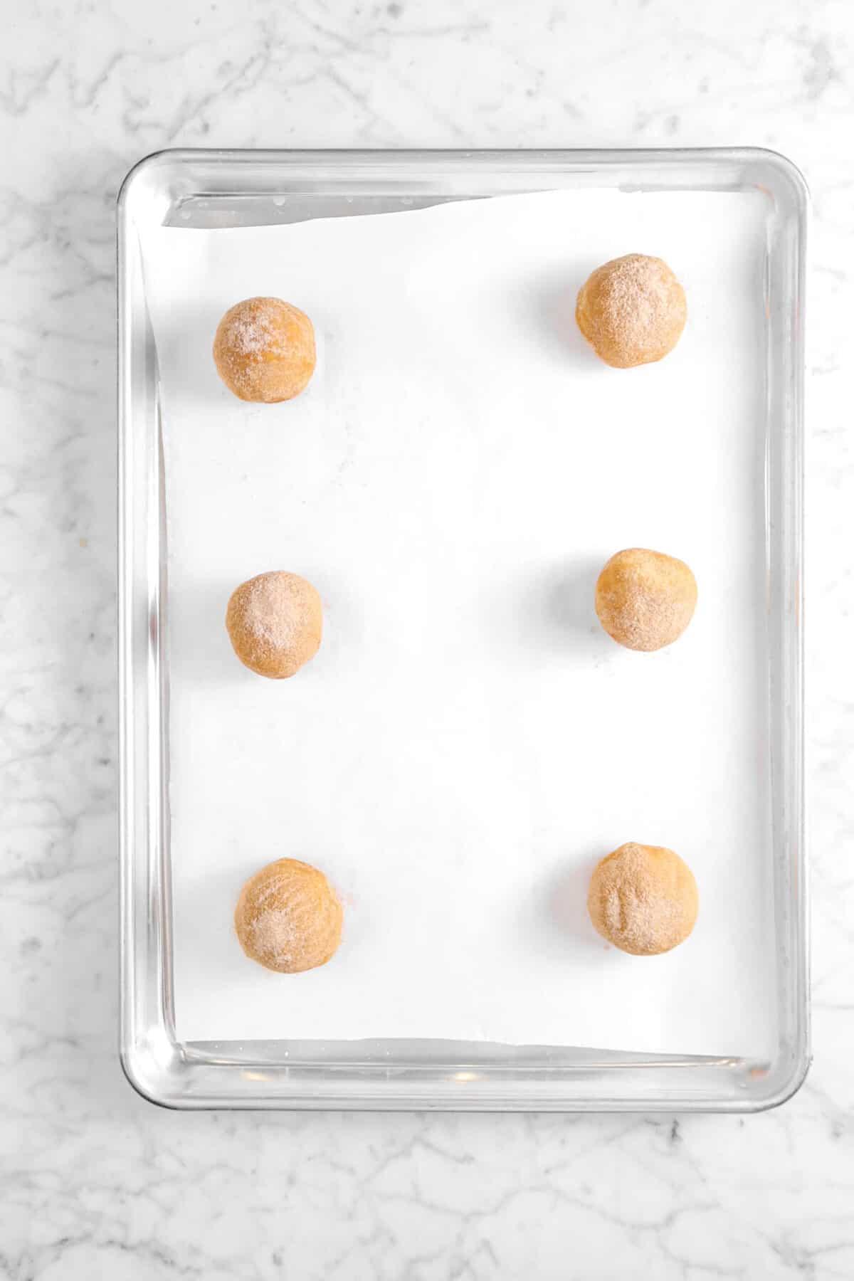 six cookie doughs on sheet pan