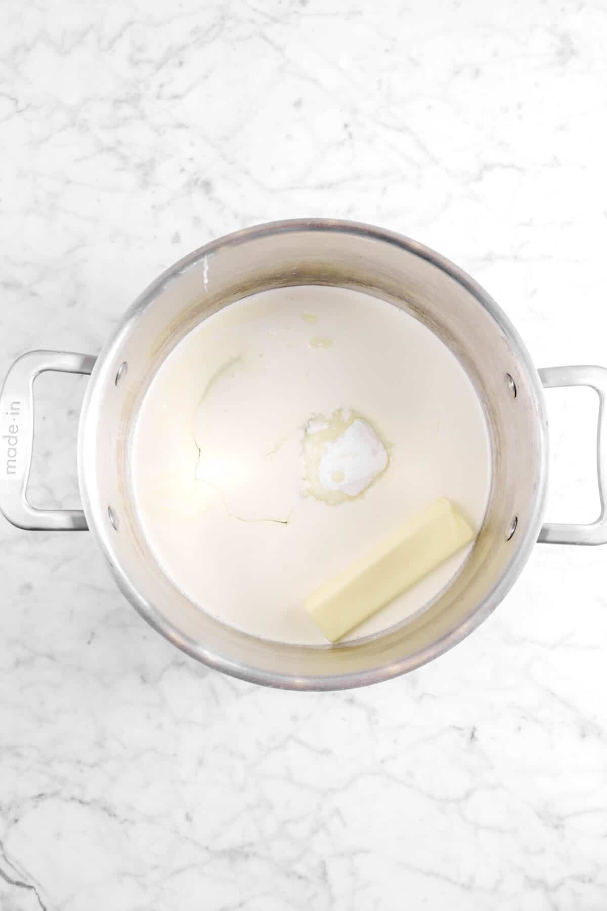 butter, milk, and sugar in large pot