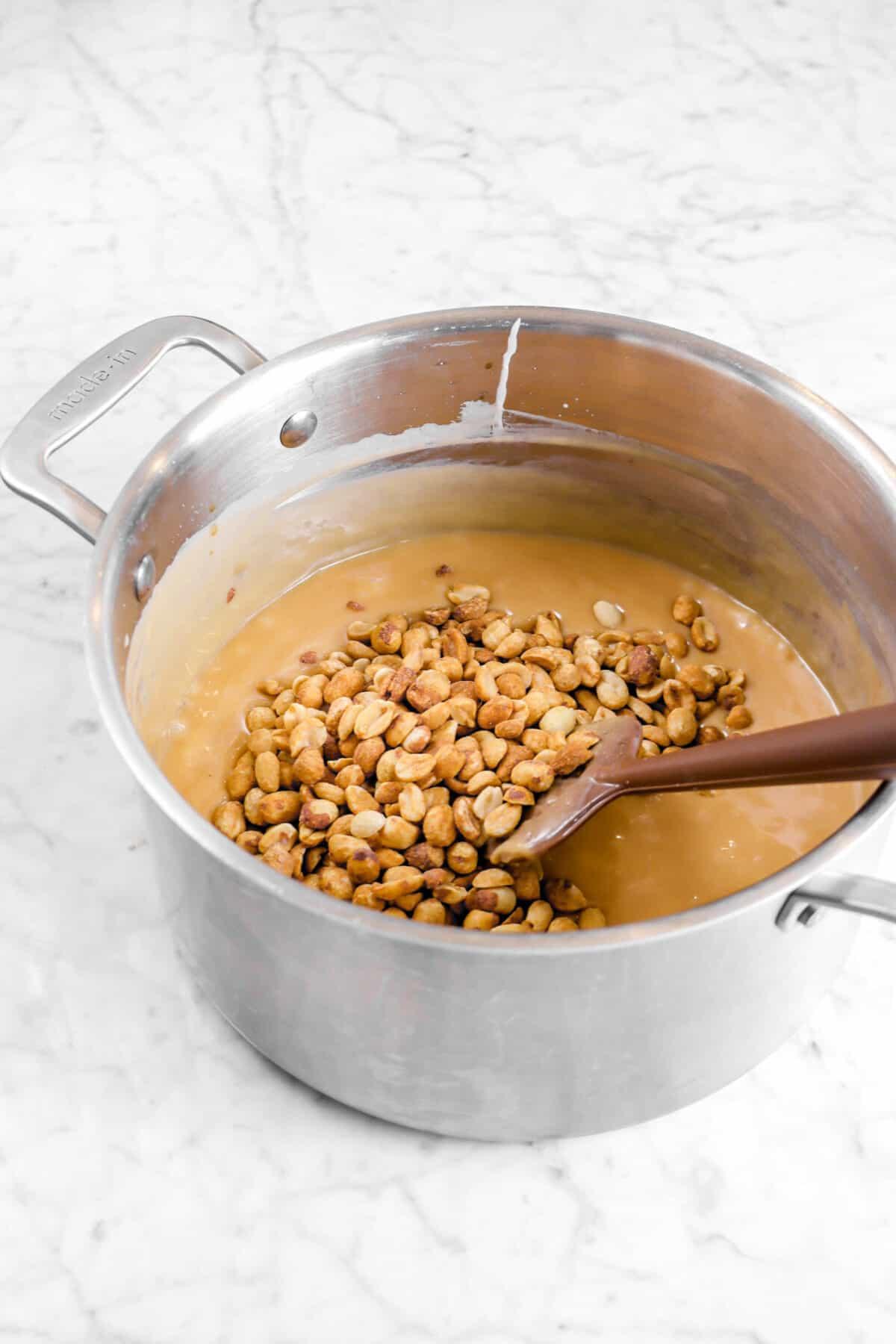 peanut added to caramel