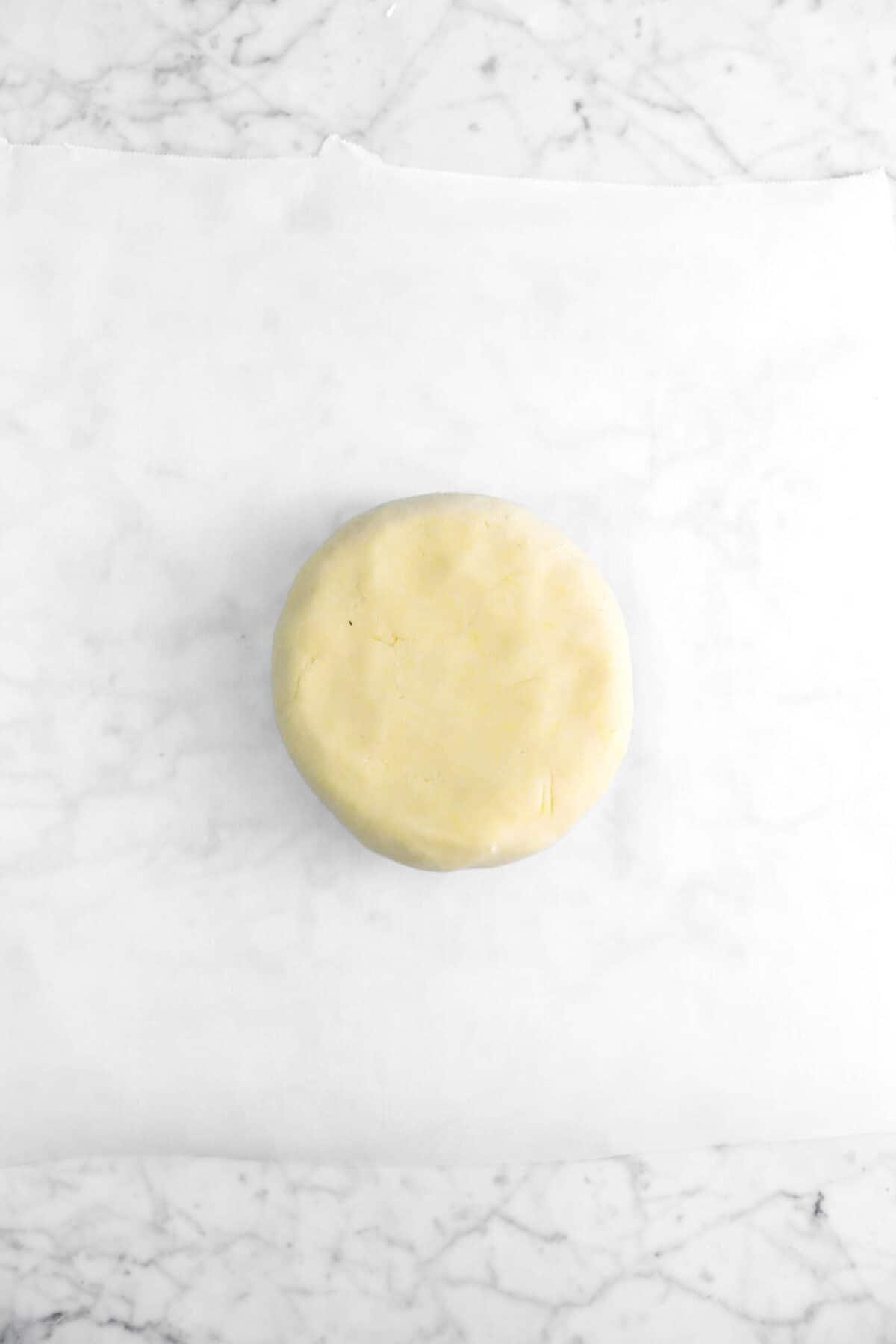 shortbread dough on piece of parchment
