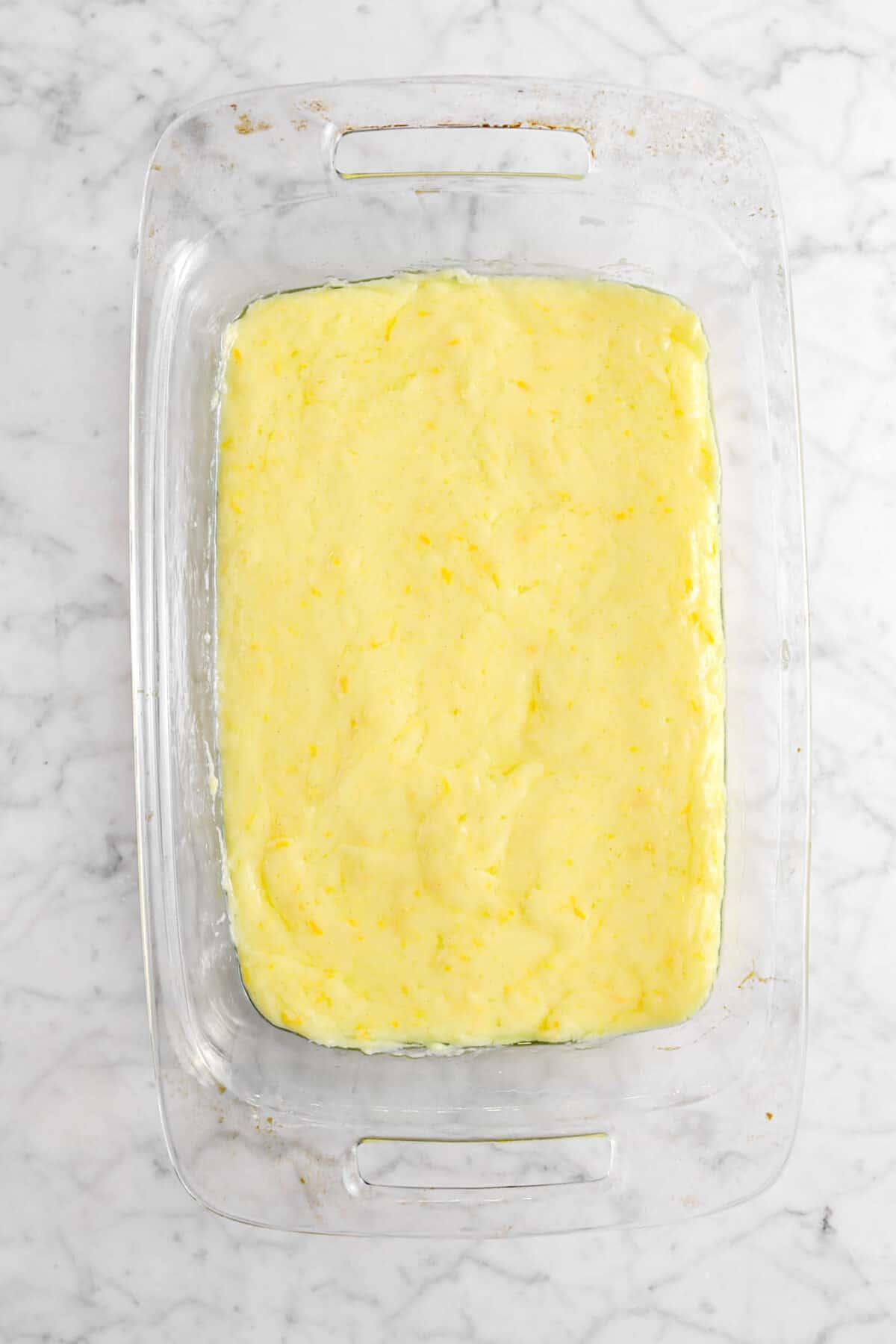 citrus custard in glass pan