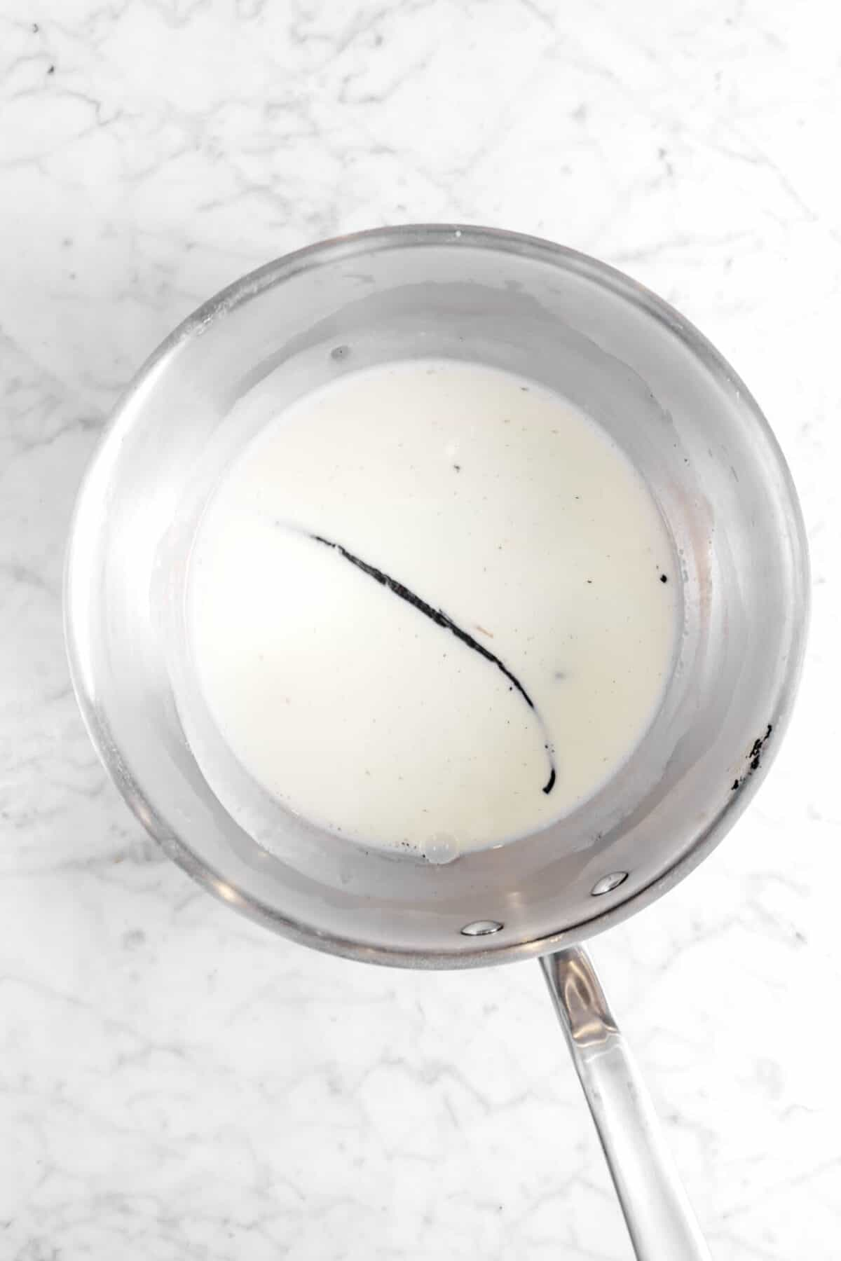 vanilla bean and milk in pot