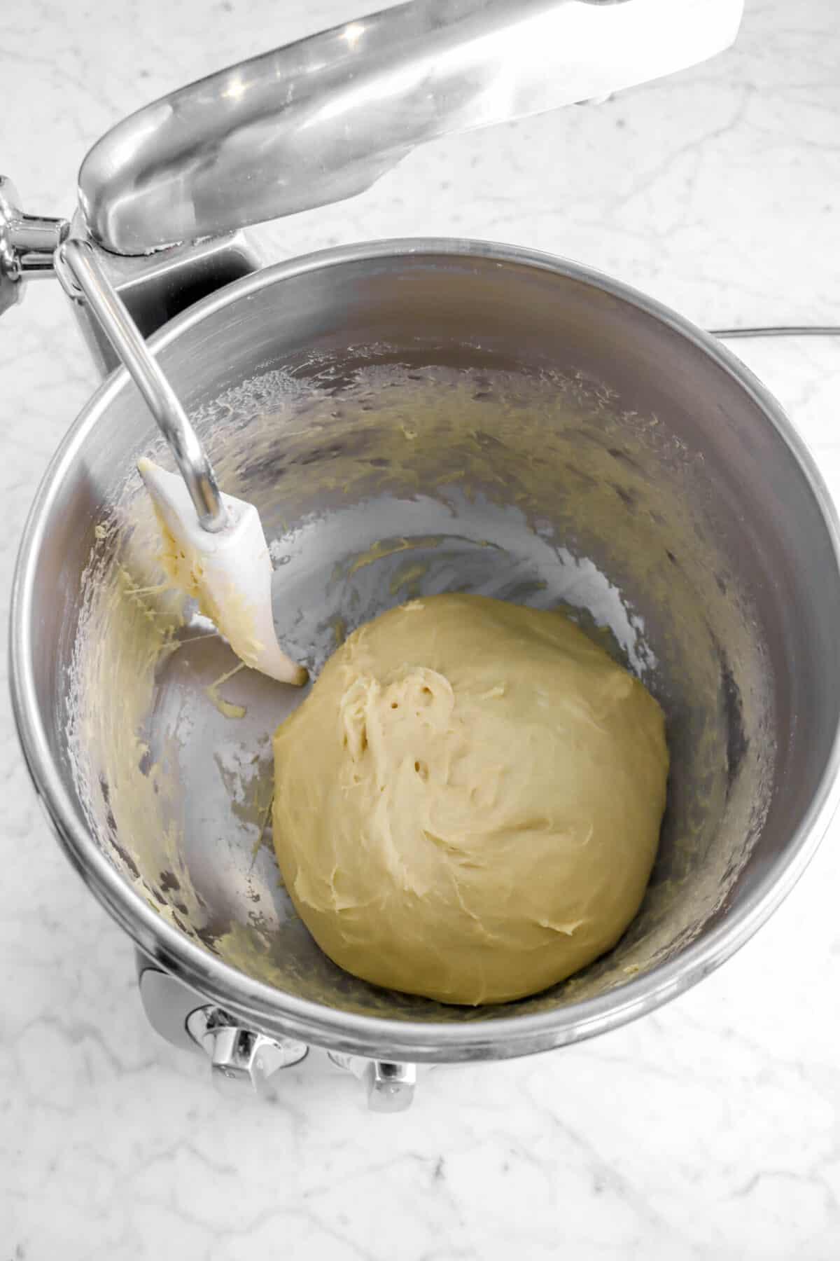dough in a mixer