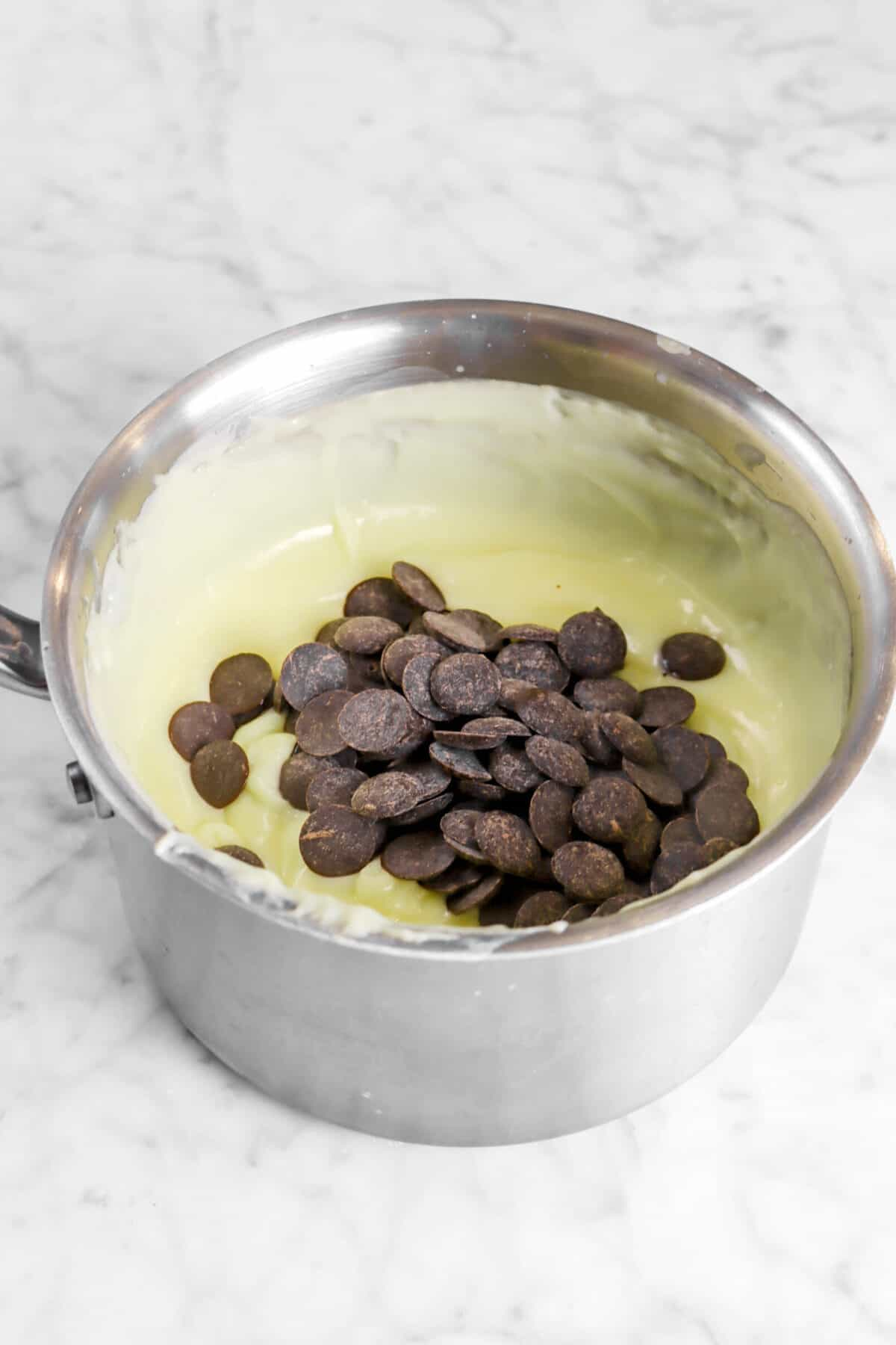 chocolate chips added on top of custard