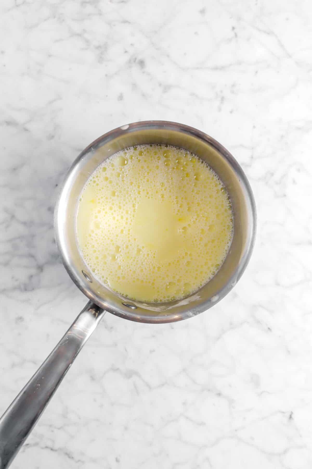 egg yolk mixture in small pot