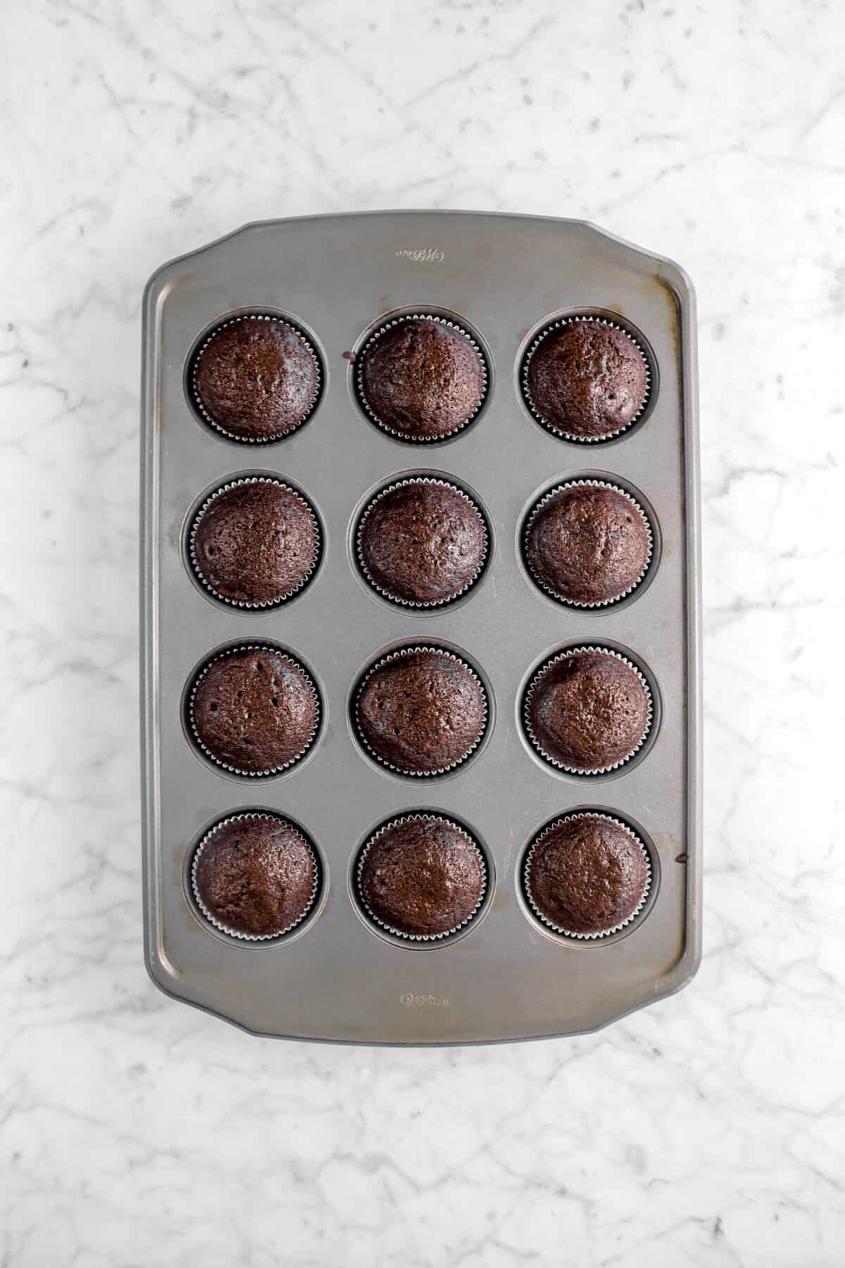 baked chocolate cupcakes in pan