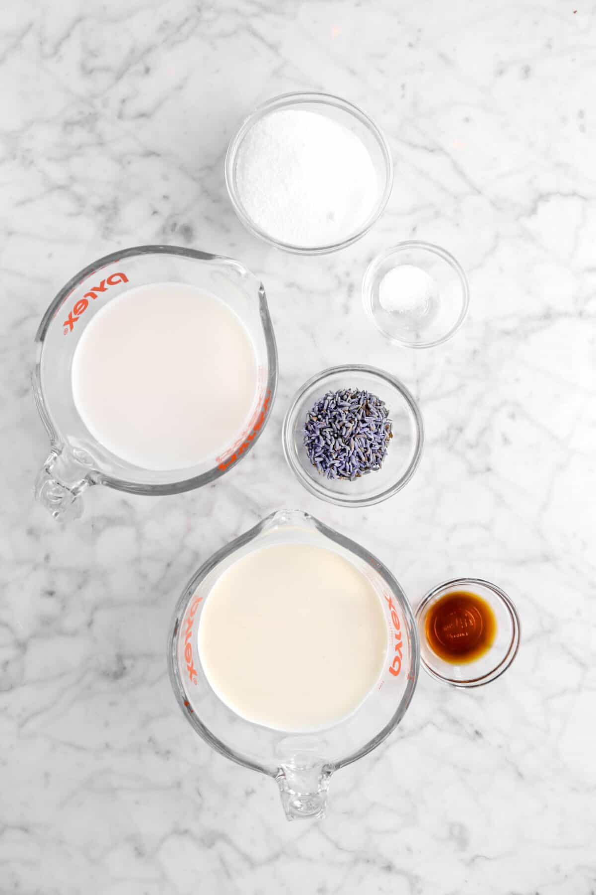 sugar, salt, whole milk, dried lavender, heavy cream, and vanilla