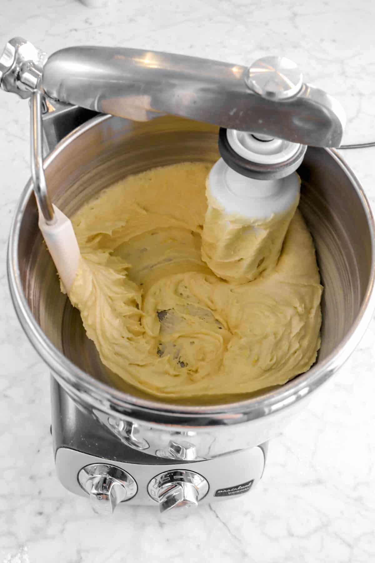 lemon cake batter in mixer