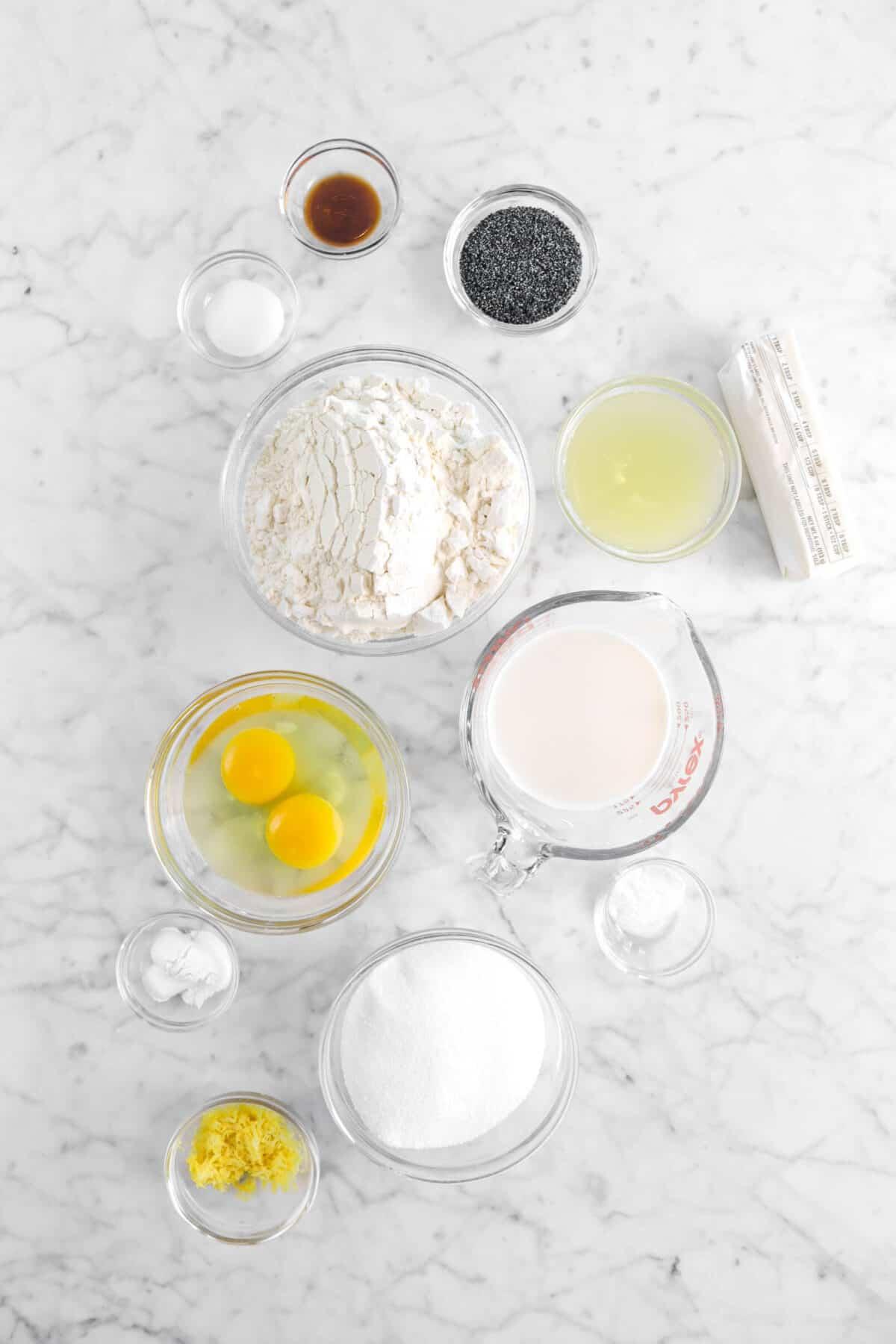 vanilla, poppy seeds, salt, flour, lemon juice, butter, milk, eggs, baking soda, sugar, baking powder, and lemon zest in glass bowls on marble counter