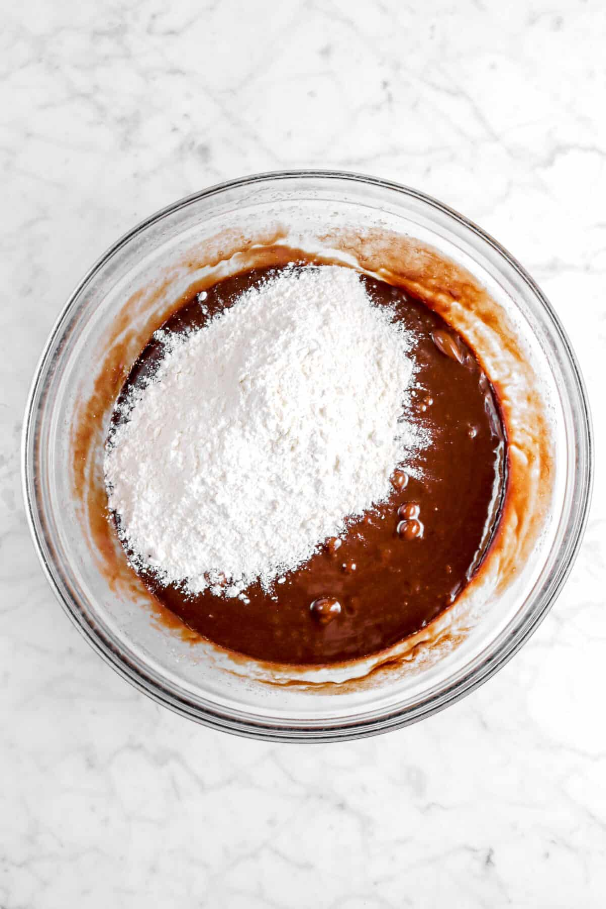 flour added to chocolate batter