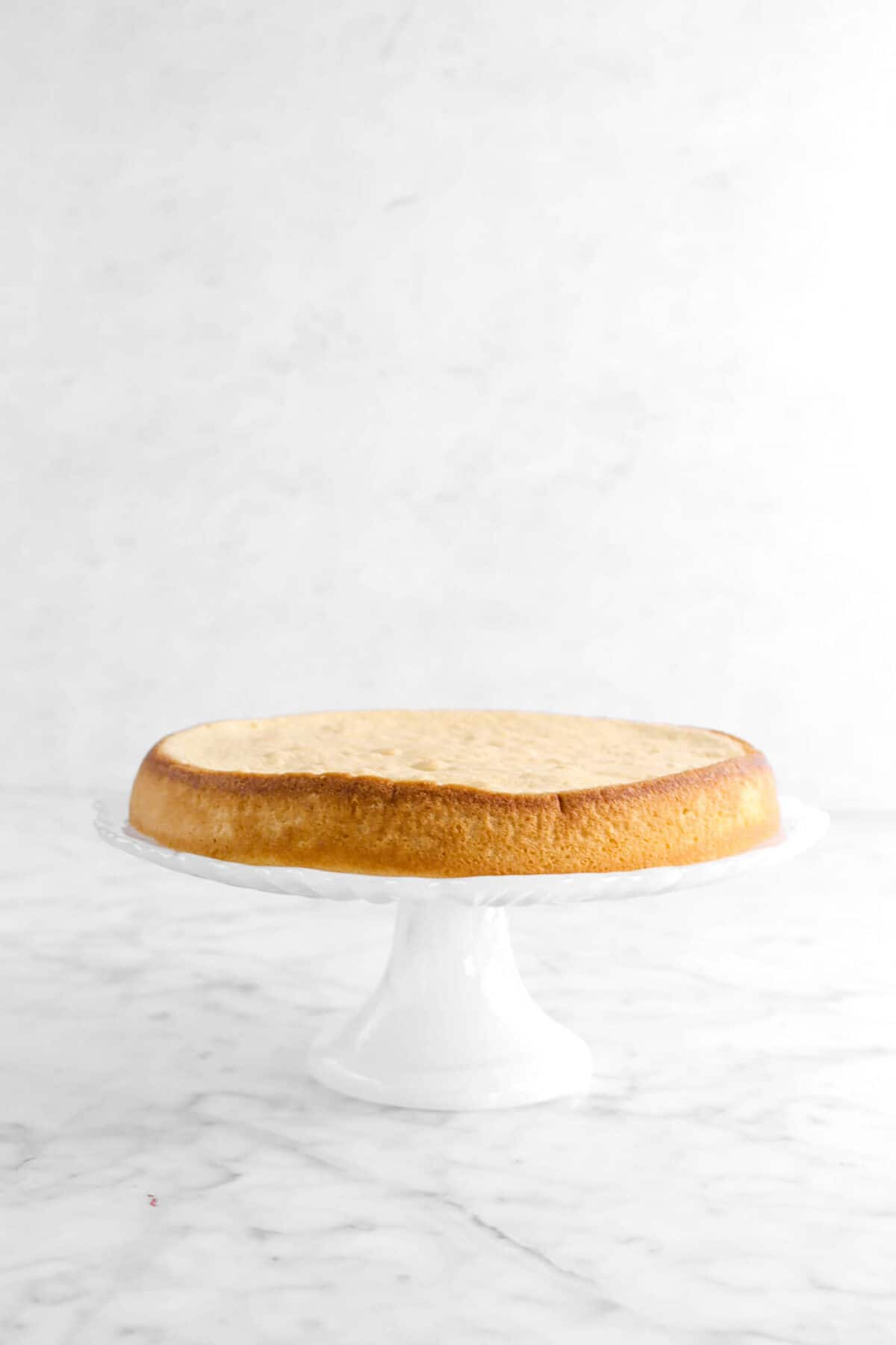 cake layer on white cake stand