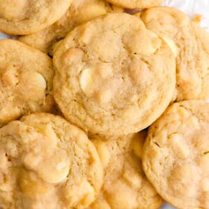 overhead shot of cookies on parchment paper