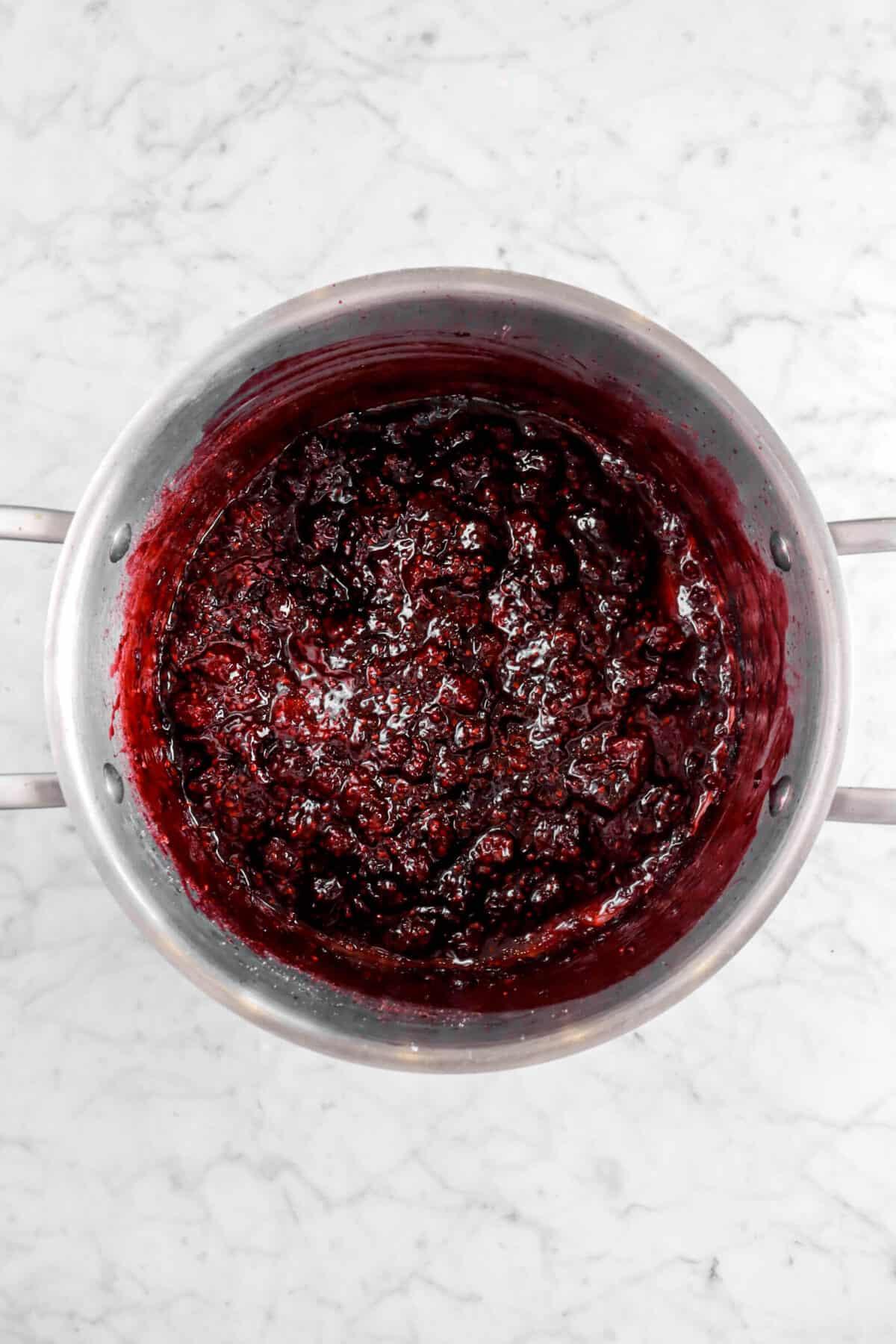 blackberry jam in a large pot