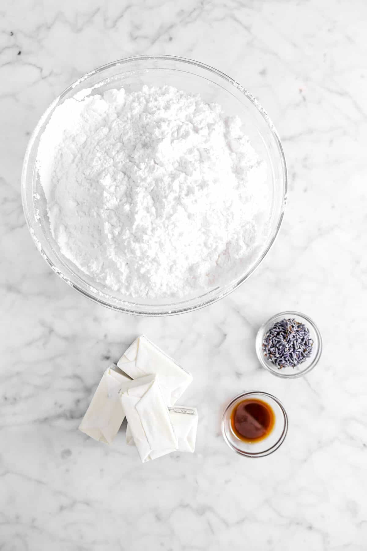 powdered sugar, lavender, butter, and vanilla in glass bowls