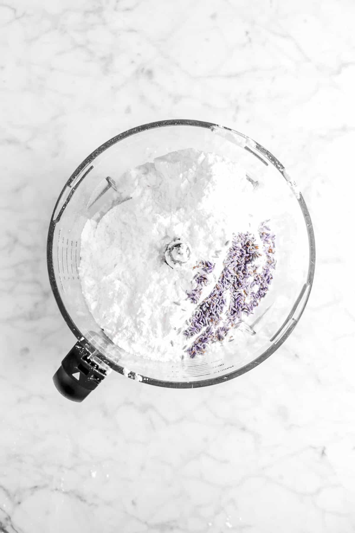 lavender and powdered sugar in food processor
