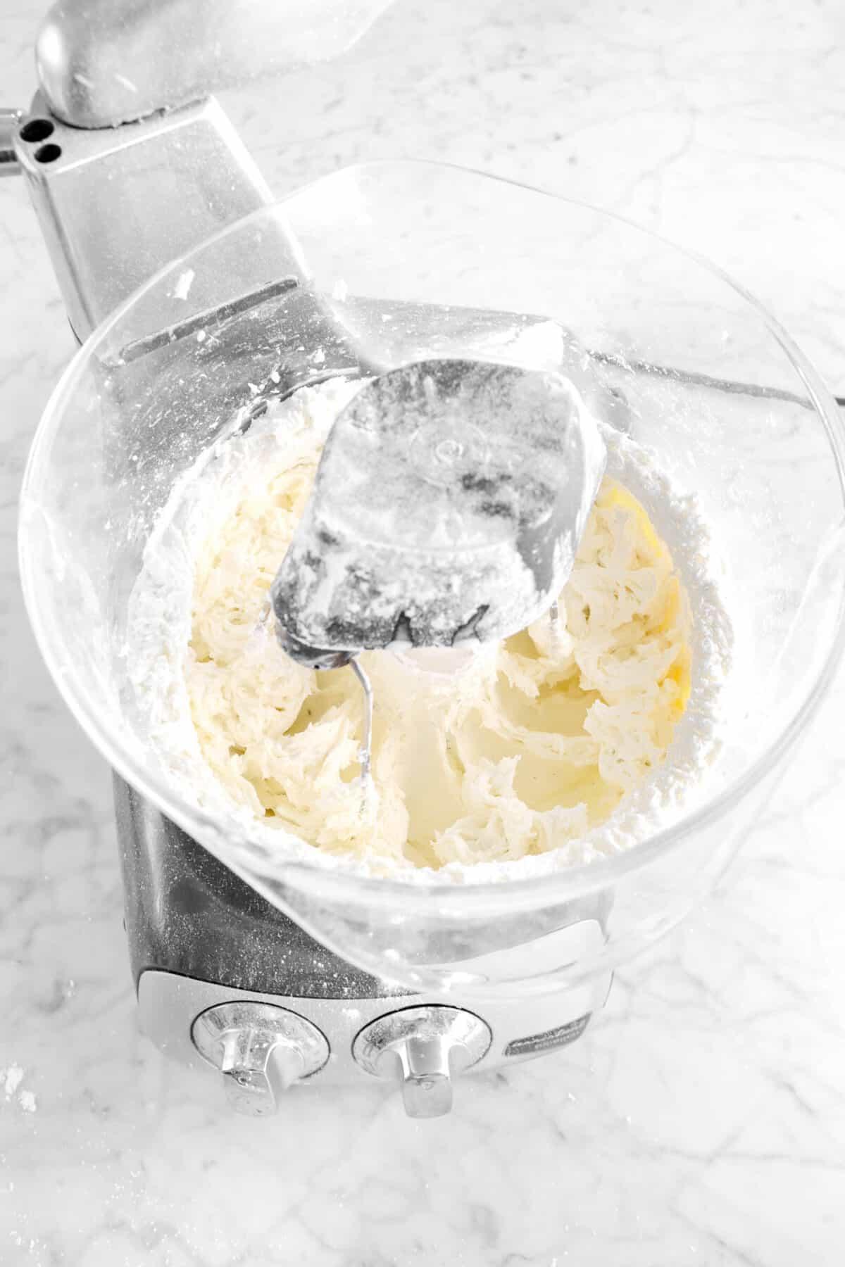 vanilla and cream stirred into butter mixture