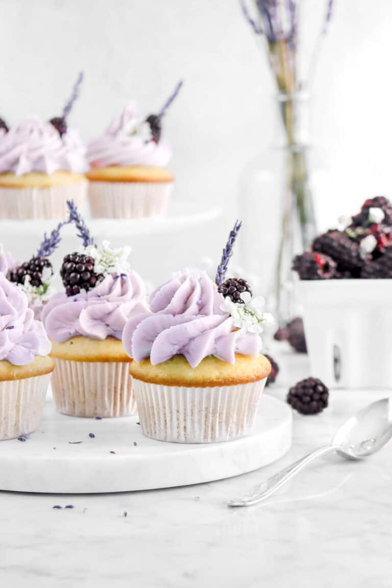 Vanilla Cupcakes with Blackberry Jam Filling and Lavender Frosting