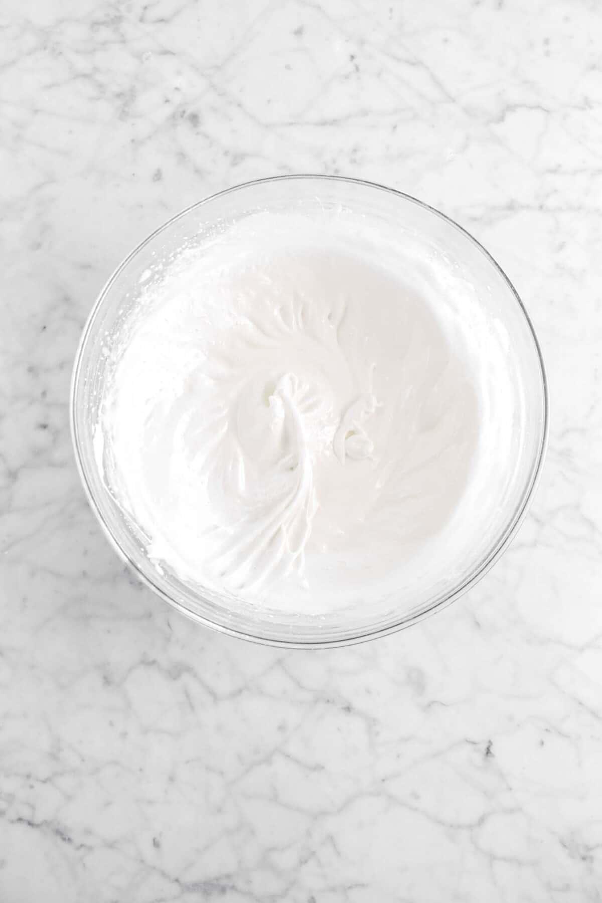 meringue in glass bowl